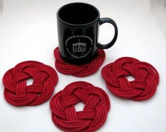 Nautical Coasters Red Turk's Head Coasters Set of 4