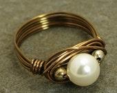 Wire Wrapped Swarovski Pearl Ring - Copper Wire in 'Antique Bronze - Size 6.25