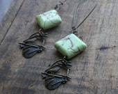 The Gatherer of Straw & Thistle. Rustic brass and Howlite Earrings