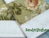 "YORKSHIRE ROSE - Custom Decorated  Bath Towels - Ralph Lauren Fabric (2) Bath Towels  each 30"" X 54"""