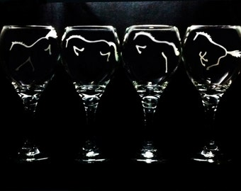 4 HORSE JUMPING SERIES Etched Wines > Choose Stemless or Stemmed Wine Glass Style>Hunter Open Jumper Equitation Eventing