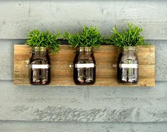 Mason Jar Wall Hanging Planter / Organizer Decor