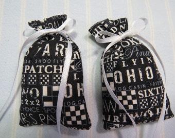 """Black 3""""X2"""" Sachet-'Violet' Fragrance-White Sachet-Cotton Fabric Sachet-White Ribbon-Hand Blended Herbal/Botanical Sachet-Cindy's Loft-334"""