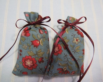 """Antique Blue 3""""X2"""" Sachet-'Hibiscus'Fragrance-Blue Sachet-Burgundy/Mauve Floral Sachet-Burgundy Ribbon-Cotton Sachets-Cindy's Loft-384"""