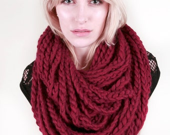 The Millbrook Infinity Circle Chain Scarf in Ruby Heather Yellow 100% Soft Wool (Choose your color!)