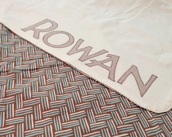 Custom Name Baby Blanket - up to 10 letters - add to any Peppermint Pinwheels blanket or playmat