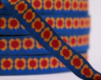 woven ribbon flowers blue from happy girls collection