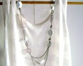 White layering long necklace asymmetric multiple chain fun grey and white long necklace -Encantada