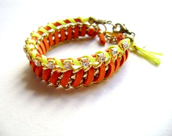 Glam Spark - color block orange faux suede leather rhinestones and neon yellow cord stacking friendship bracelets vegan bracelet