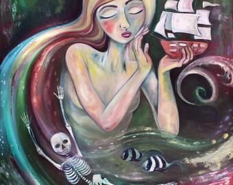 Siren painting boat ship skeleton ocean sea fish whimsical art - green oil print