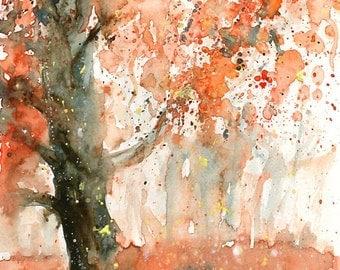 Autumn rain  Original watercolor painting 8x10 inch