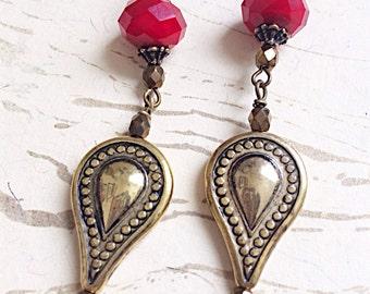 Moroccan Earrings Fairy Tale Arabian Gold Red by MinouBazaar
