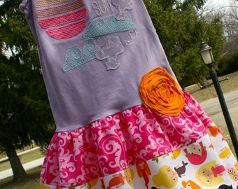 Fun in the Sun upcycled tank dress, Size 4/5 T, READY to SHIP, mermaids butterflies flower purple pink