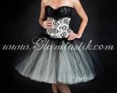 Custom Size Damask black and Ivory burlesque corset Prom dress costume S-XL