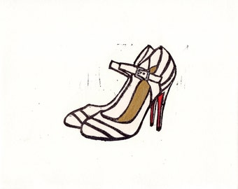 Christian Louboutin Mary Jane Round Toe shoes linocut fashion illustration hand pulled print