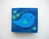 Needle Book Blue Felt Cover with Folk Art Bird and Hand Embroidered Flowers Handsewn