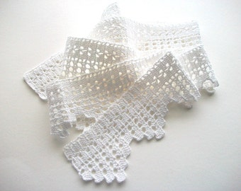 White Crochet Trim Handmade Cotton Lace Heirloom Quality