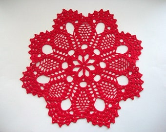 Crochet Doily Red Cotton Lace Flower Center and Large Fan Edge with Picos Heirloom Quality