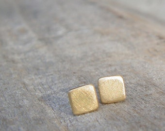 Gold Stud Earrings, 5mm Small Gold Earrings, Gold Stud Earring, Gold Square Studs, Stud Earings, Gold Square Stud Earrings