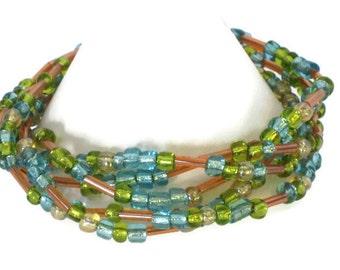 Green Blue Tan Beaded Bracelet, Gifts for Women Mom Wife Sister Daughter Grandma Teacher Under 20, Stocking Stuffers, Birthday Gifts