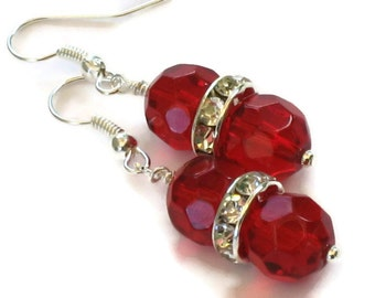 Red Faceted Crystal Rhinestone Earrings, Gifts for Women Under 20, Wedding Jewelry, Bride Bridesmaids, Christmas, Black Friday, Cyber Monday