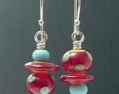 Assymetric Earrings, lampwork earrings, glass earrings, artisan earrings, red, turquoise, orange, multicolored earrings, artistic earrings