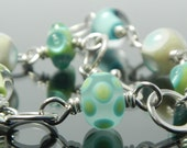 Circle Bracelet, silver circles and lampwork glass beads, blue, green, ivory, bubbles and polka dots, 8.5 inch, lampwork bracelet, artisan