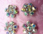 "JB114 Set of ( 4 ) Flower Crystal AB Aurora Borealis Rhinestone Appliques .5"" (JB114-CAB)"