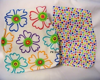 Contoured Burp Cloth in Chuckles in White - Ticklish Collection - Shoulder Cloth - Set of Two - Ready To Ship