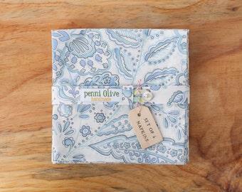 Set of 6 Blue Paisley Cloth Napkins