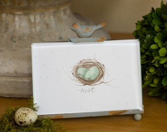 """Handpainted Nest and Egg Print in Rustic Bird Frame 4"""" x 7"""" French Country Farmhouse Cottage Chic"""