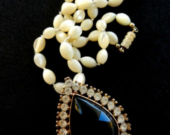 1950 Antique Venetian necklace  -Crystal iridescent ivory - gorgeous  large gold  and black drop Pendant-Art.246 -