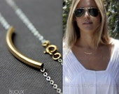 Tube Necklace- Celebrity Style Necklace- Choose Goldfilled or Mixed Metals