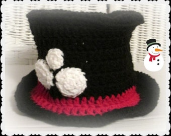 Baby Snowman Hat in crochet, Snowman photo prop, New Year's photo prop