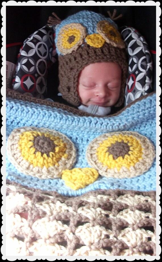 items similar to crochet woodland owl stroller carseat blanket and matching infant hat. Black Bedroom Furniture Sets. Home Design Ideas