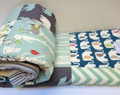 Baby Quilt-Modern-Organic-Baby Boy Bedding-Birch Fabric-Teal-Charcoal-Aqua-Animal-Elephant-Deer-Bird-Baby Blanket