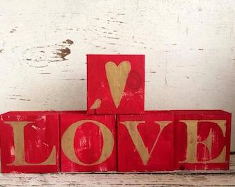 love blocks, with heart and bird, valentine decor, Valentine love blocks with bird