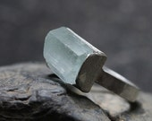 Raw Aquamarine Crystal Ice Silver Ring Winter Glacier - Gletscher Eis