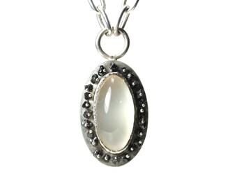 Silver Milky Agate Black Diamond Necklace White Elegant - Antique Oval