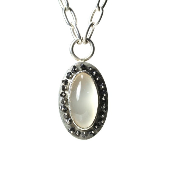 Silver Milky Agate Black Diamond Necklace White Elegant - Antique Oval