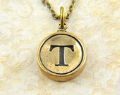 Letter T Necklace - Bronze Initial Typewriter Key Charm Necklace - Gwen Delicious Jewelry Design GDJ