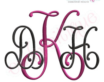 Kennedy Interlocking Monogram Font Set- Machine Embroidery Font Alphabet Letters - Instant  Download Machine embroidery design