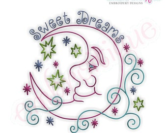 Swirly Moon with Stars Sweet Dreams - Instant Download -Digital Machine Embroidery Design