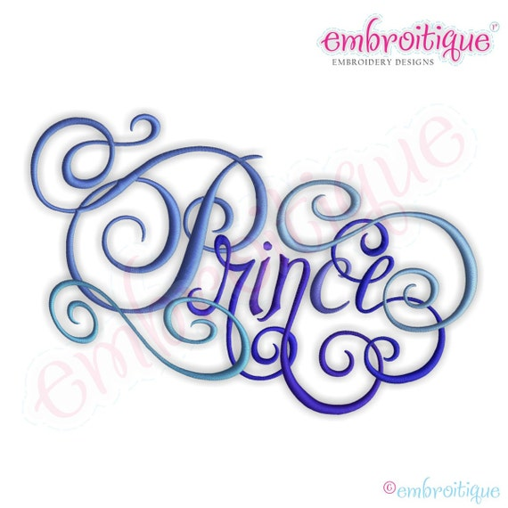 Prince calligraphy script embroidery design small instant