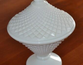 Westmoreland English Hobnail Milkglass Pedastal Candy Dish
