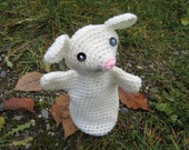 Miss White Mouse Crochet Hand Puppet