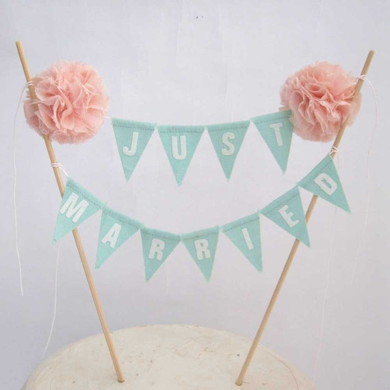 "Cake topper, wedding, Mint, Blush Pompom flower ""Just Married"" Banner B203 - shabby chic cake bannerwedding"