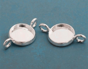 10pcs 10mm BRASS Base Trays Double loop silver tone pewter blank pendant