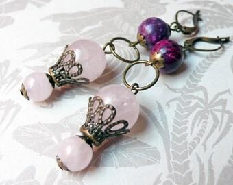 Rose Quartz and Purple Jasper With Filigree Bead Caps Earrings