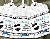 12 Favor Tags, Gift Tag, Thank You Tags, Bridal Shower, Bachelorette Party, Lingerie Party, Sexy Lingerie & Hearts, Lots of Accent Colors